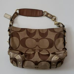 COACH carly brown signature C with bronze hobo bag